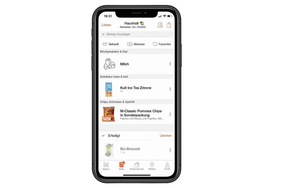 Migros–app dagligvarer e-handel intelligent indkøbsliste